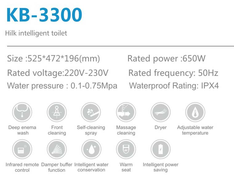 Hilk3300 Intelligent Smart Toilet Seat bidet