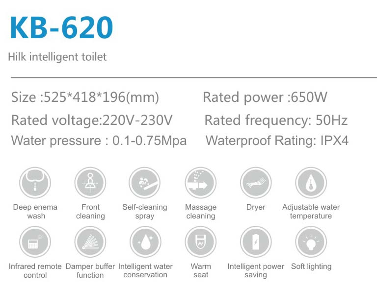 KB620 remote control intelligent smart  toilet automatica seat cover