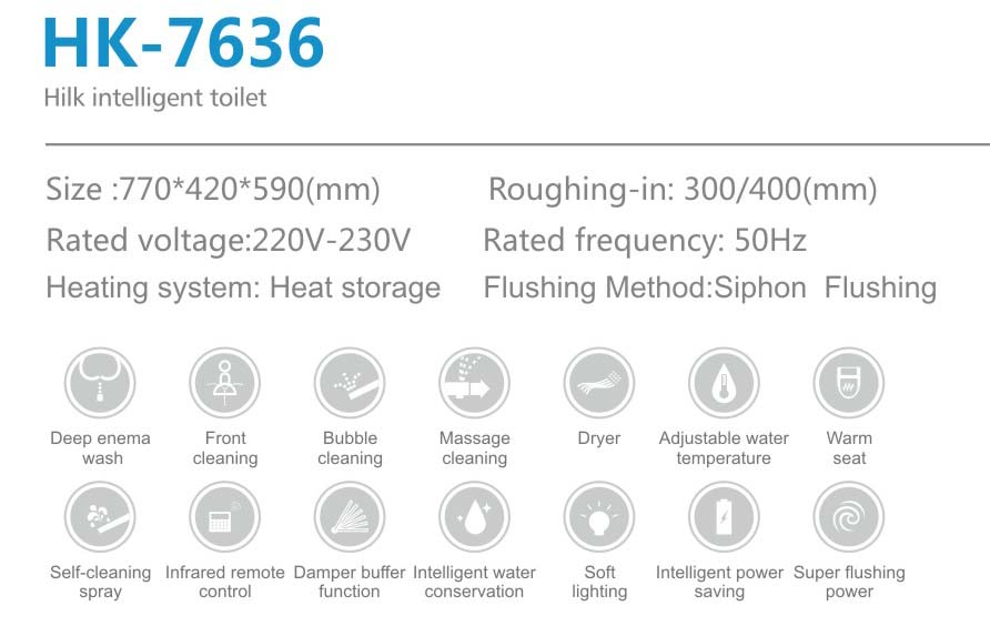 HK7636 luxurious stable performance multifunction intelligent smart toilet